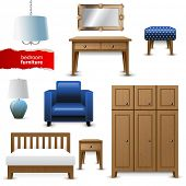 stock photo of ottoman  - Highly detailed bedroom furniture icons - JPG