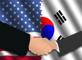 stock photo of south american flag  - Handshake over American and Korean flags with jigsaw effect illustration - JPG