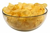 Potato Chips In A Glass Bowl Isolated On White Background