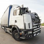 stock photo of mutilated  - The truck after the road accident - JPG