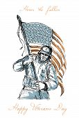 stock photo of veterans  - Greeting card poster showing hand drawn sketch illustration of an American soldier in full battle gear carrying stars and stripes flag with words Happy Veterans Day - JPG
