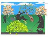 foto of leaf-blower  - Worker jumps into a pile of money leaves in fall - JPG