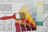 stock photo of paint brush  - paint brush on color chart - JPG