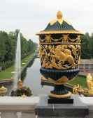 stock photo of samson  - The Sampson Fountain a monument to the victory in the Battle of Poltava - JPG