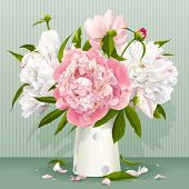 stock photo of fragrance  - Luxurious pink and white peonies bouquet with leaves and buds in the porcelain vase - JPG