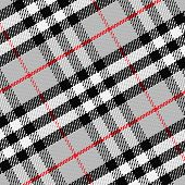 image of kilt  - vector seamless pattern Scottish tartan 1 black white gray red - JPG