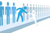 pic of stick  - Member gives a hand up to help new person join social group or business team - JPG