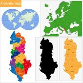 pic of albania  - Map of administrative divisions of Republic of Albania - JPG