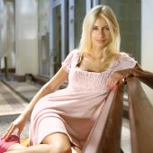 picture of school-leaver  - beautiful sexy blonde in pink dress near shopping mall - JPG