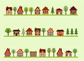foto of tree lined street  - Small town street view with cartoon homes and trees - JPG