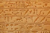 stock photo of hieroglyph  - An old Egyptian pictorial writing on a sandstone - JPG
