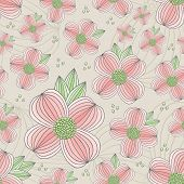 stock photo of dogwood  - Seamless Dogwood Blossom Pattern for your web and print projects - JPG