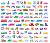 picture of tractor trailer  - 104 Transport icons set stickers - JPG