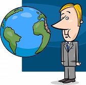 image of lobbyist  - Concept Cartoon Illustration of Businessman Biting the Earth or Overexploitation Economy Metaphor - JPG