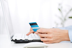 stock photo of field mouse  - Close up of young woman using credit card online
