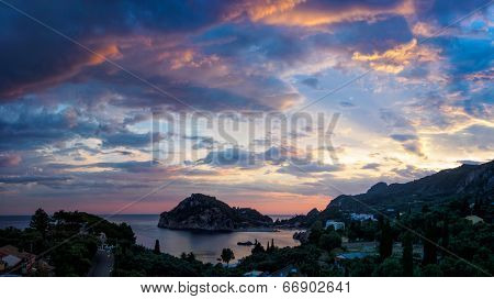 The Paleokastritsa bay at sunset, Corfu, Greece