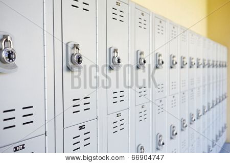 Close Up Of Student Lockers In High School