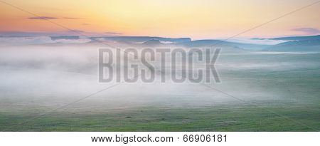Mountain panorama at morning. Nature composition.