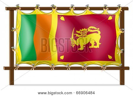 Illustration of a wooden frame with the flag of SriLanka on a white background