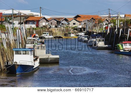 French fishing port of Gujan Mestras in Arcachon bassin , Gironde, France