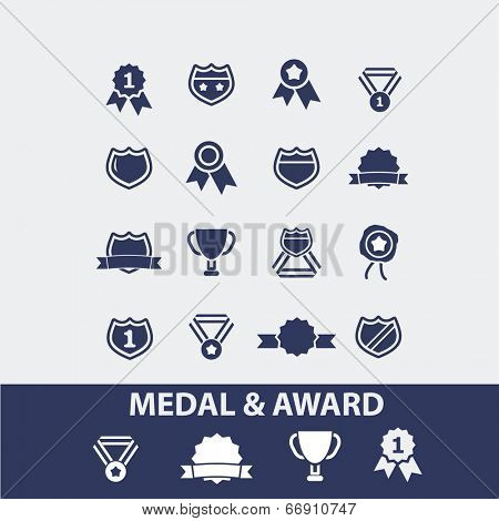 medal, award, achievement, winner, emblem icons, signs set, vector