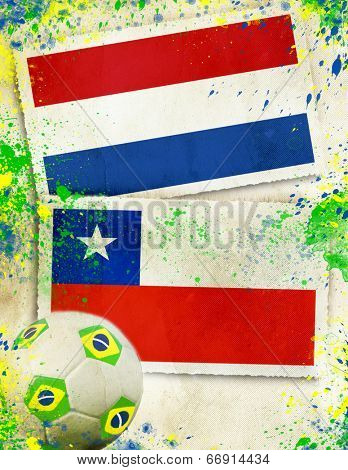 Netherlands vs Chile soccer ball concept