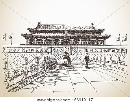 June 18, 2014 - Tiananmen Gate at the Tiananmen Square, Beijing, China. Hand drawn vector illustration