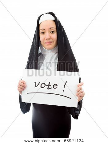 Young nun showing vote sign on white background