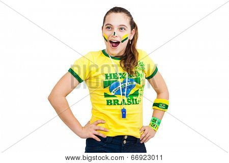 Brazilian supporter stunned on white background