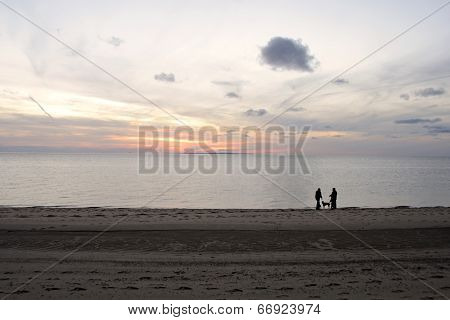 Couple Walking their Dog on a Provincetown Beach