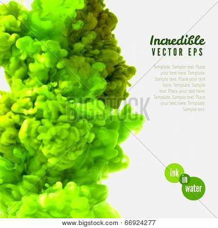 Incredible vector green ink in water