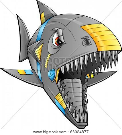 Robot Cyborg Shark Vector Illustration Art