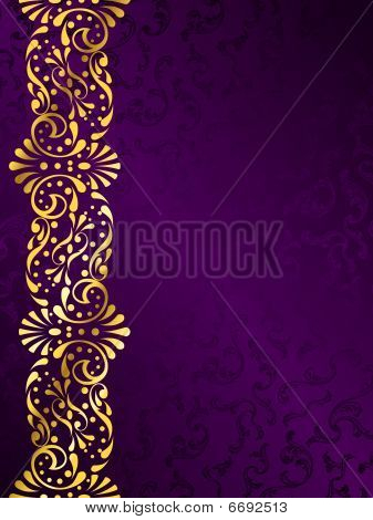 Purple background with gold filigree