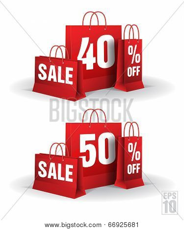 Shopping bag printed with a forty and fifty discount. Vector. Isolated.