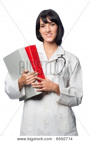 Caucasian Doctor With Folders