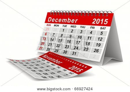 2015 year calendar. December. Isolated 3D image