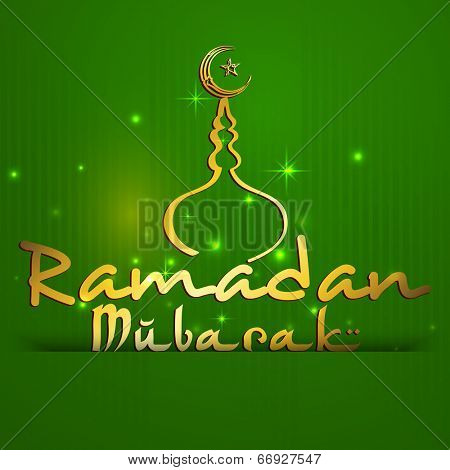 Stylish golden text Ramadan Mubarak with golden mosque on shiny green background for holy month of Muslim community Ramadan Mubarak celebrations.