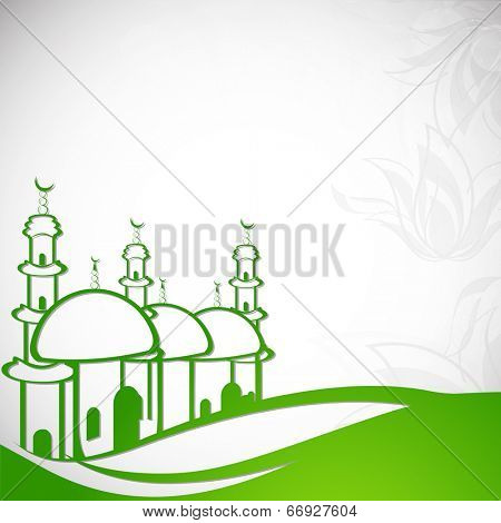 Stylish illustration of a green mosque with floral design decorated grey background on green land, creative concept for holy month of Muslim community Ramadan Kareem.