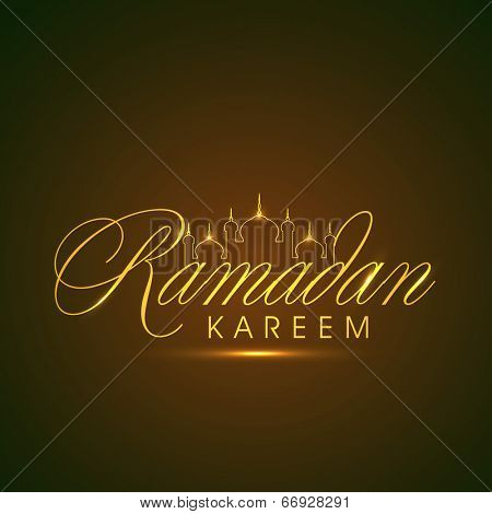 Stylish golden text Ramadan Kareem with mosque design on shiny brown background for holy month of Muslim community Ramadan Kareem.