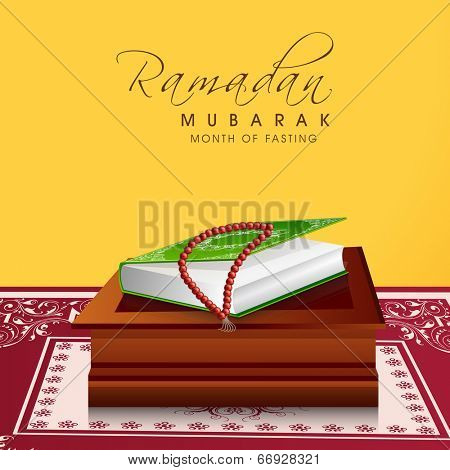 Religious Islamic Book Quran Shareef with praying mantis on wooden stand concept for holy month of Muslim community Ramadan Kareem celebrations.