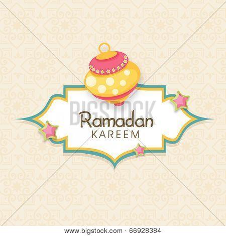 Beautiful greeting card design for holy month of Muslim community Ramadan Kareem.