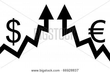 Dollar and euro arrows