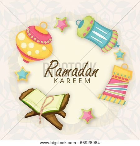 Colorful arabic lanterns with open religious book Quran Shareef on stylish abstract background for holy month of Muslim community Ramadan Kareem.