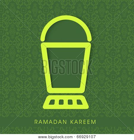Stylish lantern in neon green color on seamless floral patterned green background.