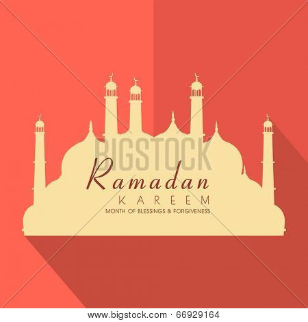 Stylish brown paper design in shape of mosque on folded orange background for holy month of Muslim community Ramadan Kareem.