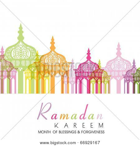 Intricate colorful lanterns on white background for holy month of Muslim community Ramadan Kareem.