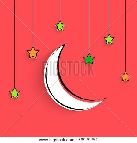 Crescent white moon with shiny hanging stars on bright pink background for holy month of Muslim community Ramadan Kareem.
