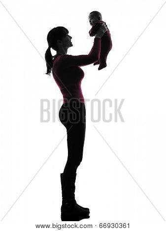 one  woman holding baby silhouette on white background
