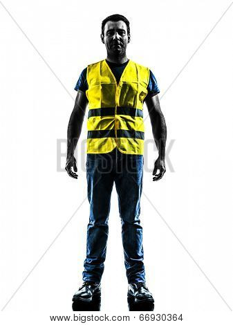 one man standing in yellow safety vest silhouette isolated in white background