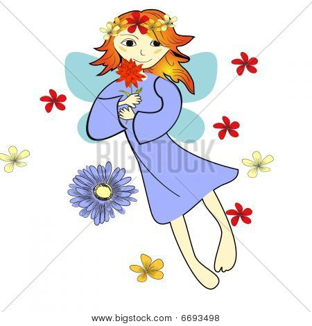 Vector card with flying fairy and flowers